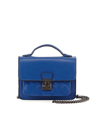KC JAGGER Sia Mini Quilted Leather Crossbody Bag in Blue