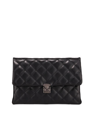 KIERA DIAMOND-QUILT LEATHER CLUTCH BAG