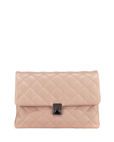 KC Jagger Kiera Diamond-Quilt Leather Clutch Bag