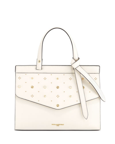 Susan Embellished Saffiano Leather Satchel Bag