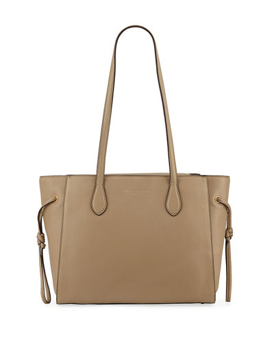 East-West Leather Tote Bag