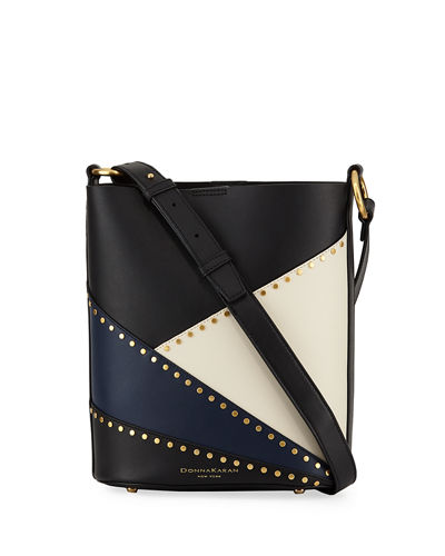 Adan Studded Patchwork Leather Bucket Bag