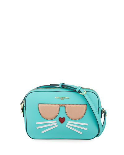 Maybelle Saffiano-Leather Crossbody Bag with Choupette Cat Face