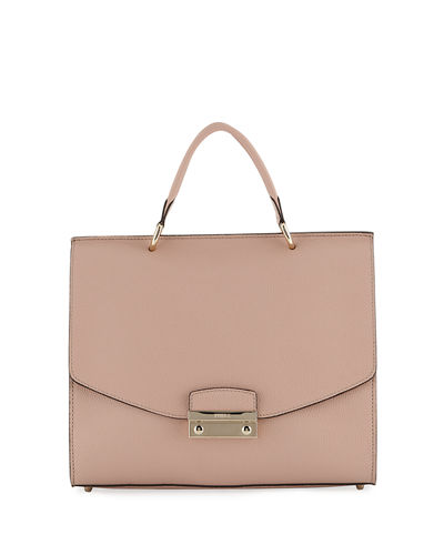 Julia Medium Leather Top Handle Bag - Golden Hardware