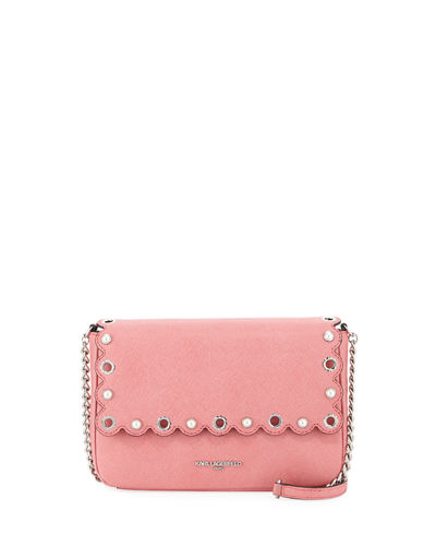 Karl Lagerfeld Paris Elsa Scalloped Saffiano Leather Crossbody