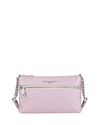 Bouquet Rose-Embroidered Leather Crossbody Bag