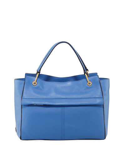 Kathlyn Leather Zip-Top Satchel Bag