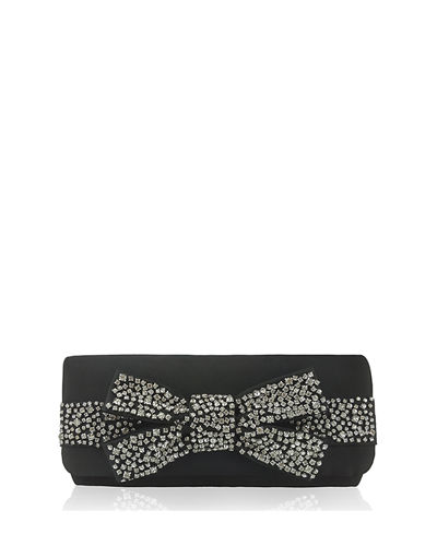 Snow Envelope Clutch Bag with Rhinestone Bow