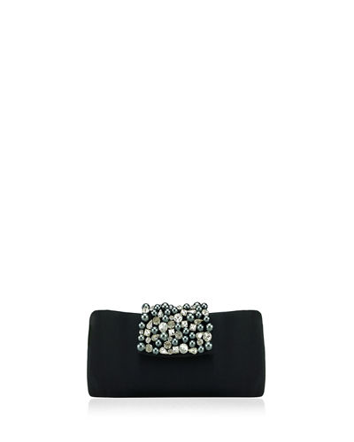Noel Rhinestone and Pearly Flap Clutch Bag