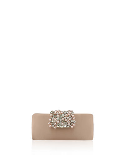 Adrianna Papell Noel Rhinestone and Pearly Flap Clutch