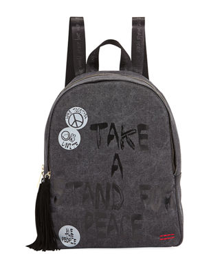 GRAPHIC TASSEL-ZIP CANVAS BACKPACK