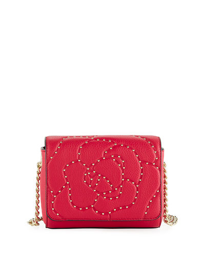 Flora Flower-Stud Leather Crossbody Bag