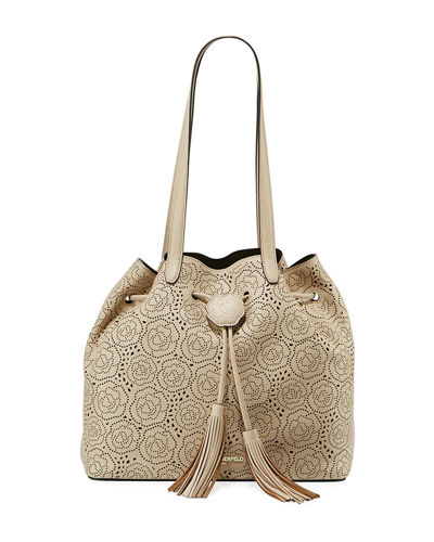 Anya Hermine Perforated Drawstring Bucket Bag