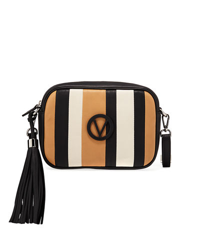 Mia Striped Leather Tassel Shoulder Bag