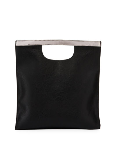 Square Metallic-Trim Clutch Bag