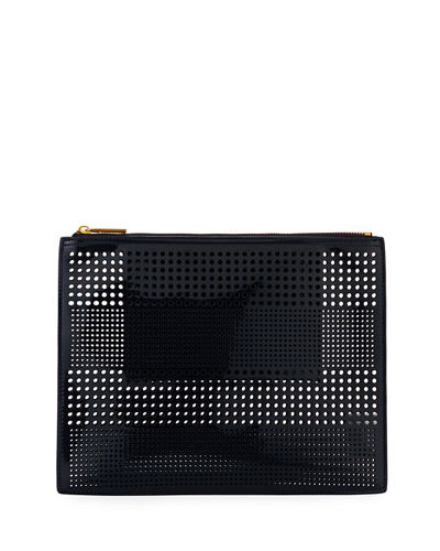 Perforated Zip Pouch Bag