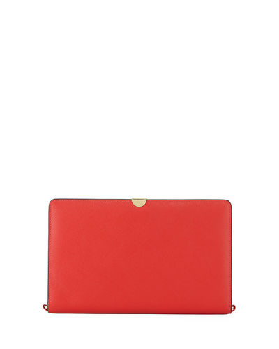 Neiman Marcus Saffiano Flap Wallet On A Chain, RED