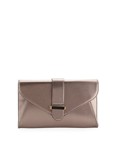 Reva Faux Saffiano Leather Envelope Clutch Bag