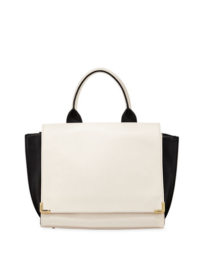 Neiman Marcus Winged Colorblock Fold-Over Satchel Bag