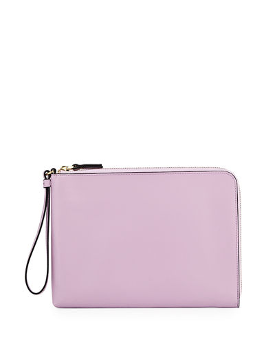 Large Saffiano Leather Charging Wristlet Clutch Bag