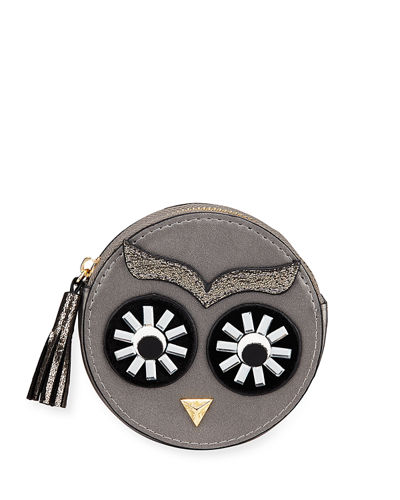 Owl Face Round Faux-Leather Coin Purse