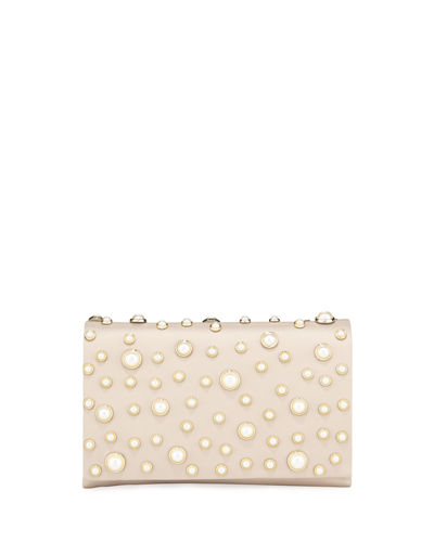 Satin Pearly Flap Clutch Bag