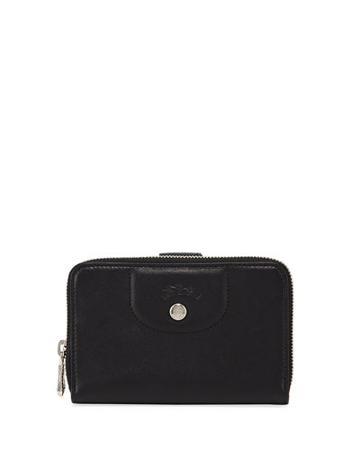 Longchamp Le Pliage Cuir Compact Leather Zip-Around Wallet