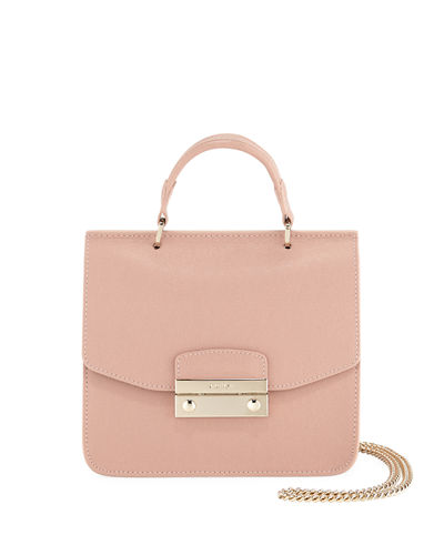 Julia Mini Saffiano Leather Top-Handle Crossbody Bag