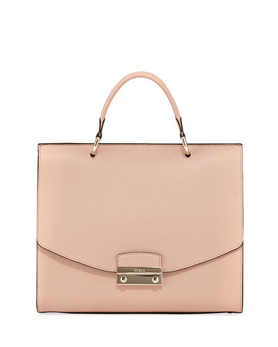 Julia Medium Leather Top-Handle Bag