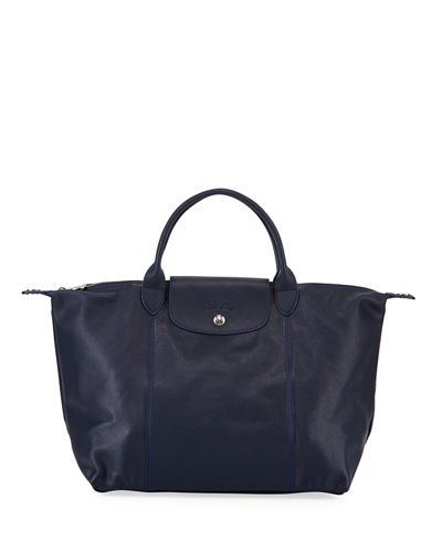 Le Pliage Cuir Medium Leather Handbag