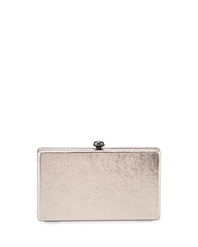 Metallic Chain-Strap Minaudiere Bag
