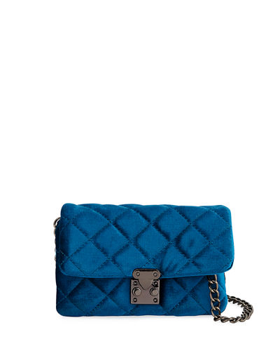 KC Jagger Jane Quilted Velvet Mini Crossbody Bag