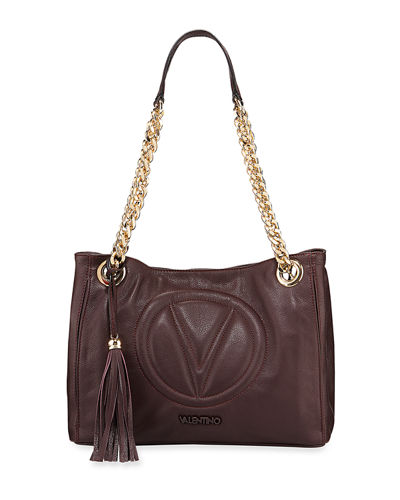 Luisa 2 Sauvage Leather Tassel Shoulder Tote Bag
