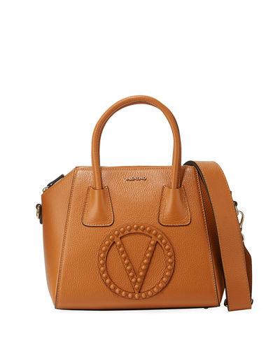Minimi Rock Dollaro Leather Satchel Bag with Tonal Studs