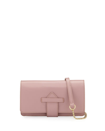 Flapover Leather Crossbody Bag