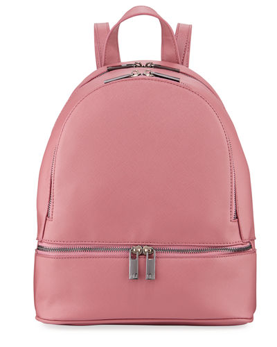 Faux Saffiano Backpack with Rose-Tone Hardware