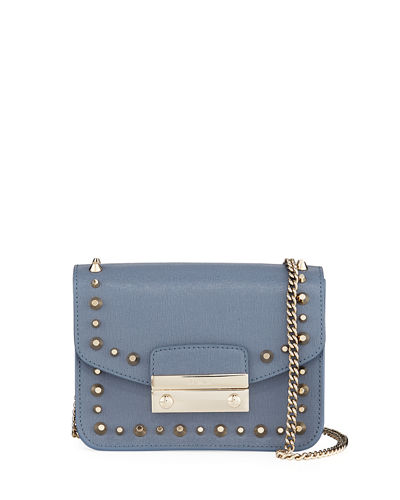 Julia Mini Studded Saffiano Leather Crossbody Bag