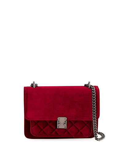 Mila Velvet Quilted-Pocket Crossbody Bag