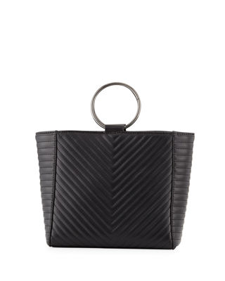 KC JAGGER Mimi Ring Quilted Leather Crossbody Bag in Black