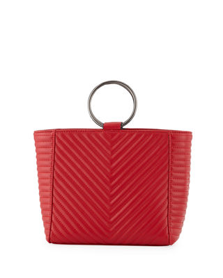 KC JAGGER Mimi Ring Quilted Leather Crossbody Bag in Red