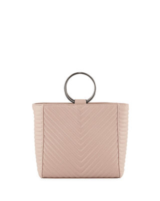 KC JAGGER Mimi Ring Quilted Leather Crossbody Bag in Dark Blush