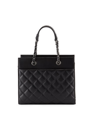 KC JAGGER Jules Quilted Leather Tote Bag in Black