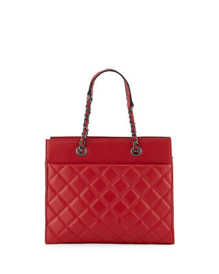 KC JAGGER Jules Quilted Leather Tote Bag in Red