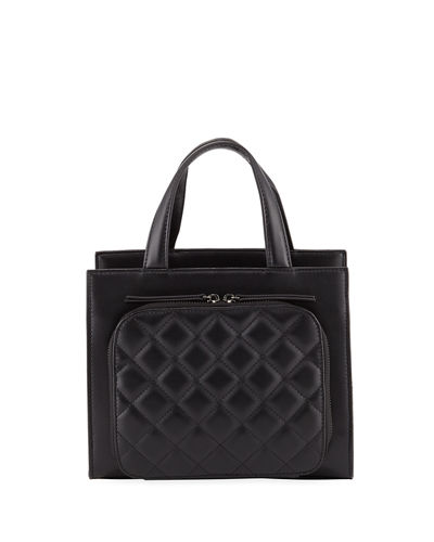 Camilla Quilted-Front Leather Top-Handle Bag