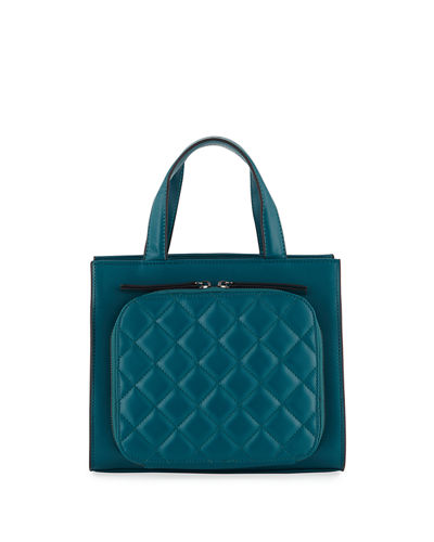 KC Jagger Camilla Quilted-Front Leather Top-Handle Bag