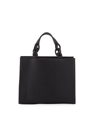 KC JAGGER Bowie Python-Embossed Leather Crossbody Bag in Black