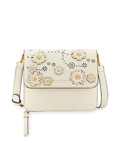 Rina Embellished Crosshatched Leather Crossbody Bag