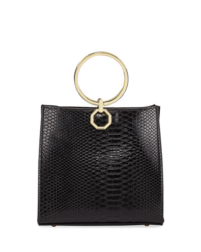 Faux-Leather Crocodile Bangle Satchel Bag