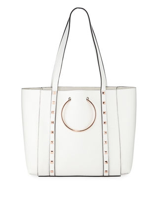Soho Studded Faux-Leather Tote Bag in Bone