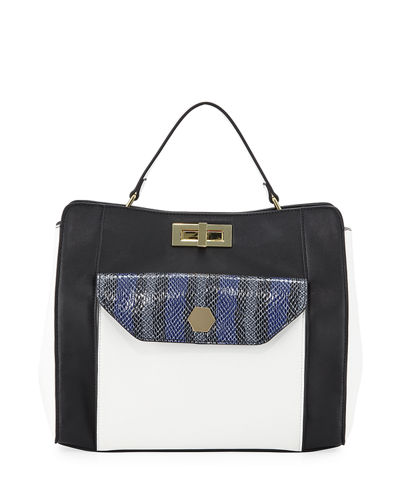 Hanna Faux-Leather Snakeskin Pocket Satchel Bag